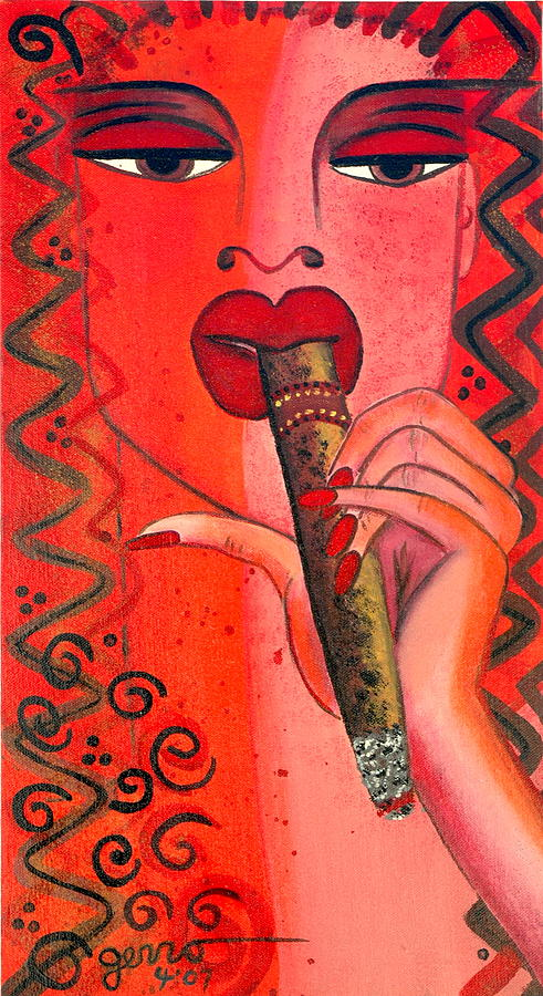 Cigar Moment Corona Cigar Painting by Helen Gerro