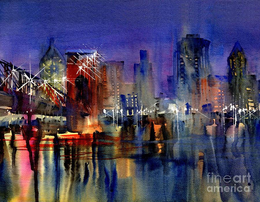 Cityscape Painting - Cincinnati Lights by John Byram