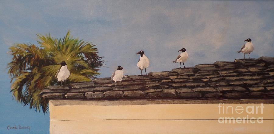 Laughing Gulls Painting - Cinco Seagulls by Carla Dabney