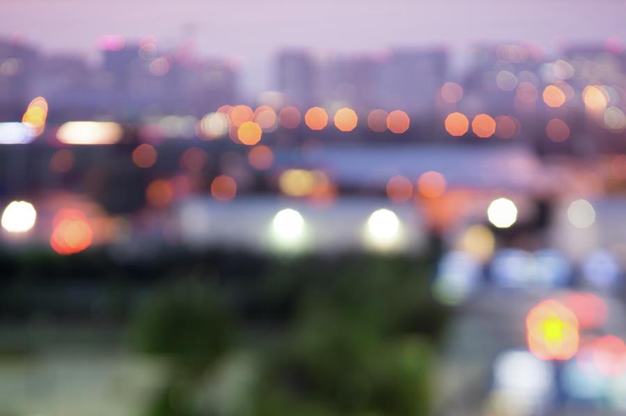 City Lights Bokeh Night Abstract Photograph