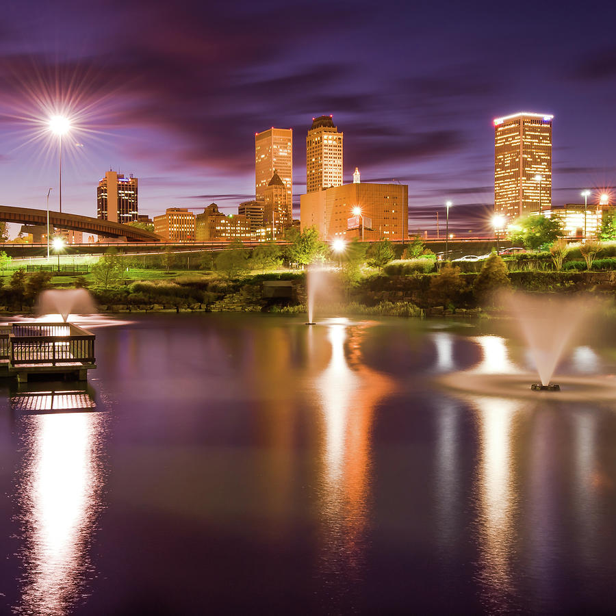 Tulsa Oklahoma Skyline At Night Photograph