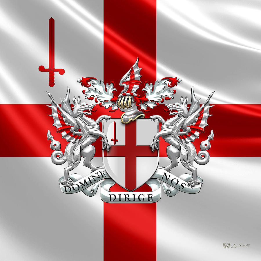 City Of London Photograph - City of London - Coat of Arms over Flag  by Serge Averbukh