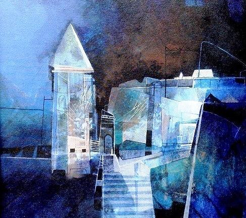 Painting Painting - Cityscape by Manas Roy