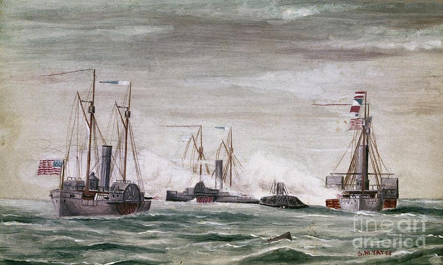 1864 Photograph - Civil War: Naval Battle by Granger