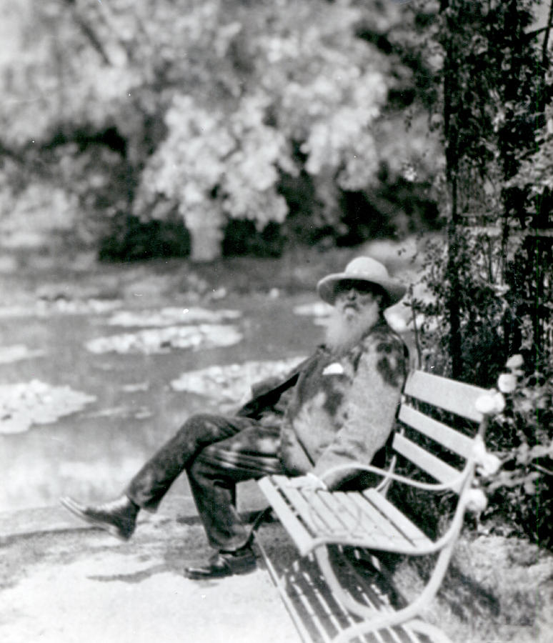 Male Photograph - Claude Monet in his garden by French School