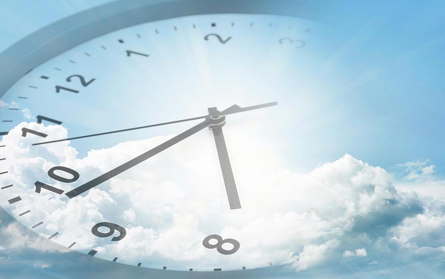 New Year Digital Art - Clock In Sky 2 by Les Cunliffe