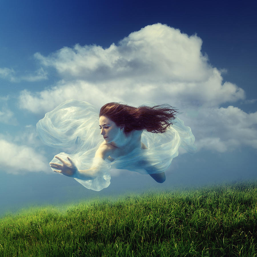 Girl Photograph - Cloud by Dmitry Laudin