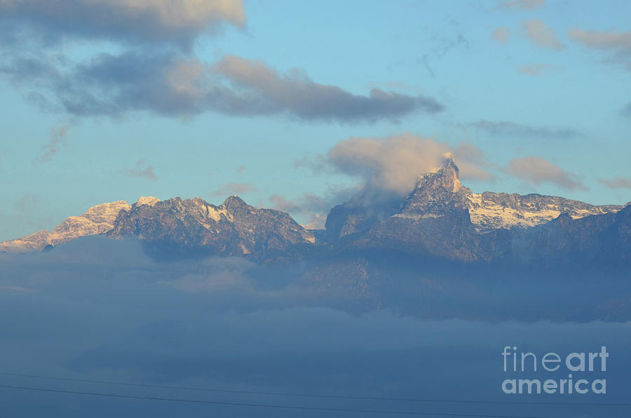 Mountains Photograph - Cloudy Sky Surrounding The Dolomite Mountains In Italy  by DejaVu Designs
