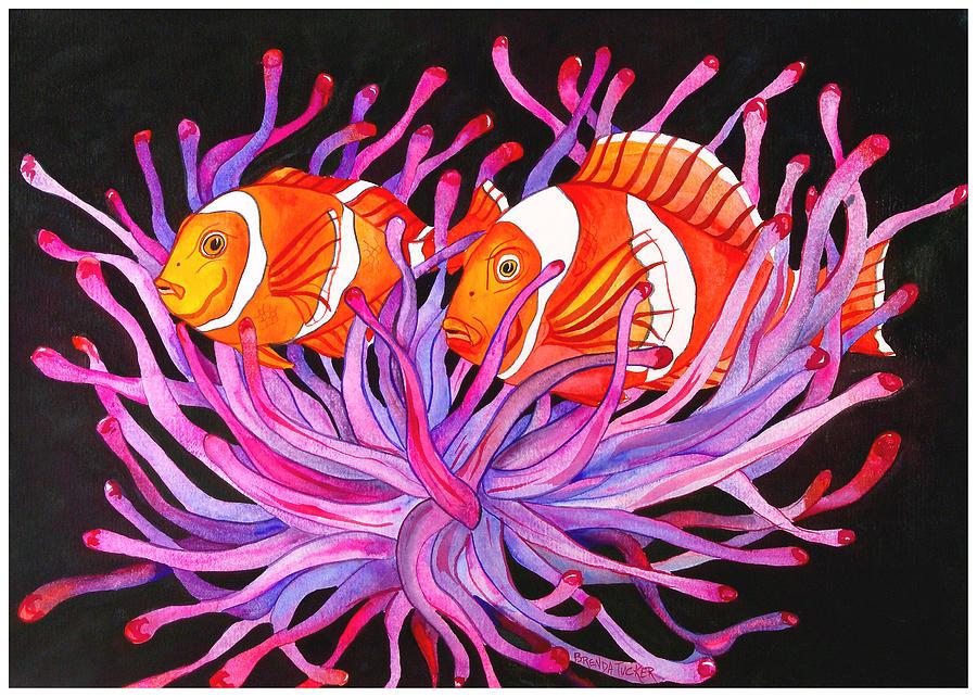Clownfish Painting - Clownfish and Sea Anenome  by Brenda Tucker