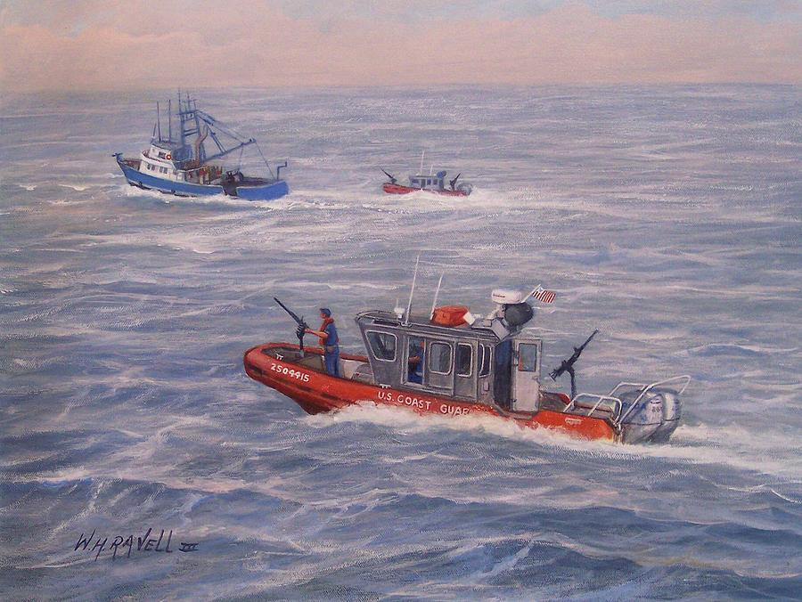 Boats Painting - Coast Guard In Pursuit by William H RaVell III
