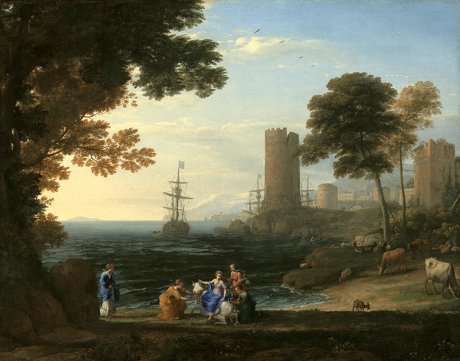 Claude Lorrain Painting - Coast View With The Abduction Of Europa by Claude Lorrain