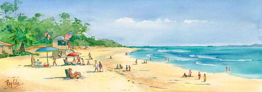Beach Painting - Coastal View by Ray Cole