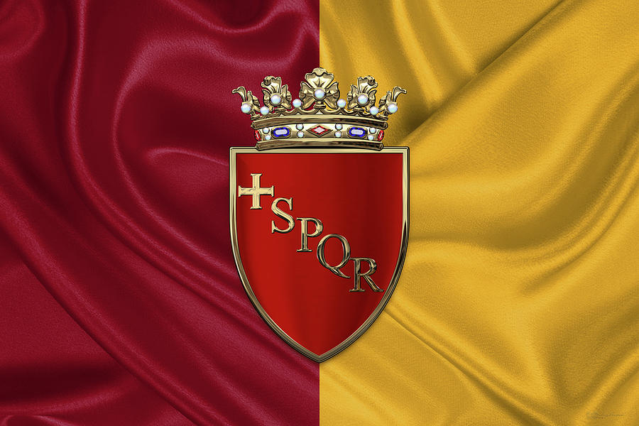Coat of arms of Rome over flag of Rome Photograph by Serge Averbukh