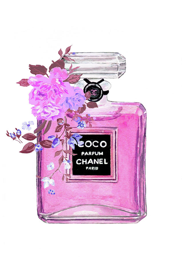 Coco Chanel Perfume Painting by Del Art