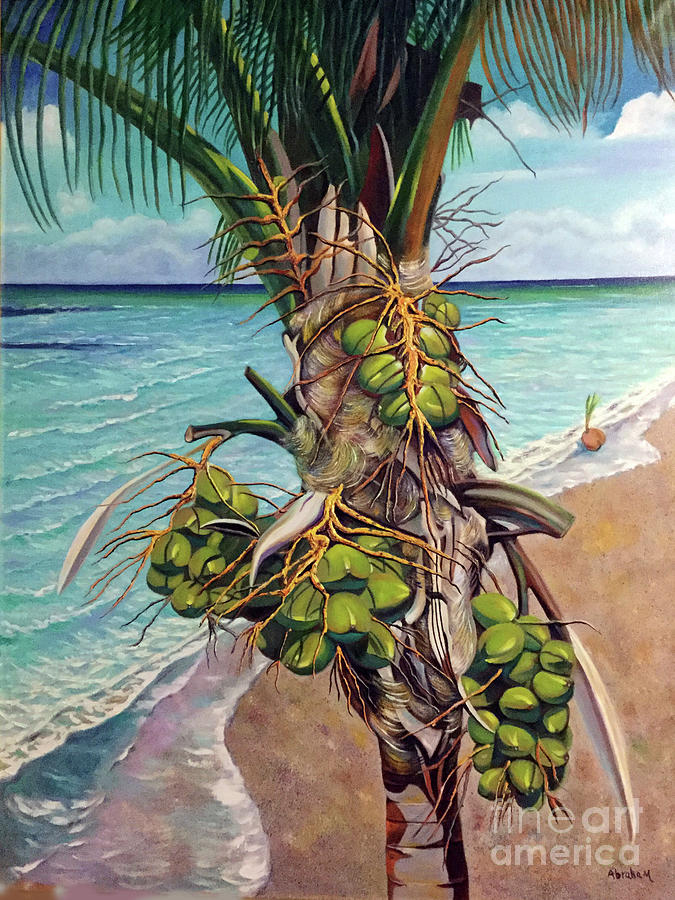 Coconuts Painting - Coconuts on beach by Jose Manuel Abraham