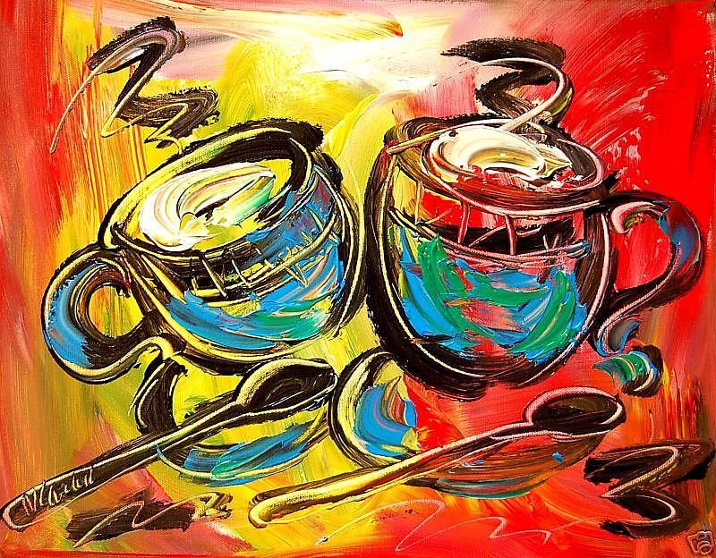 New York Painting - Coffee by Mark Kazav