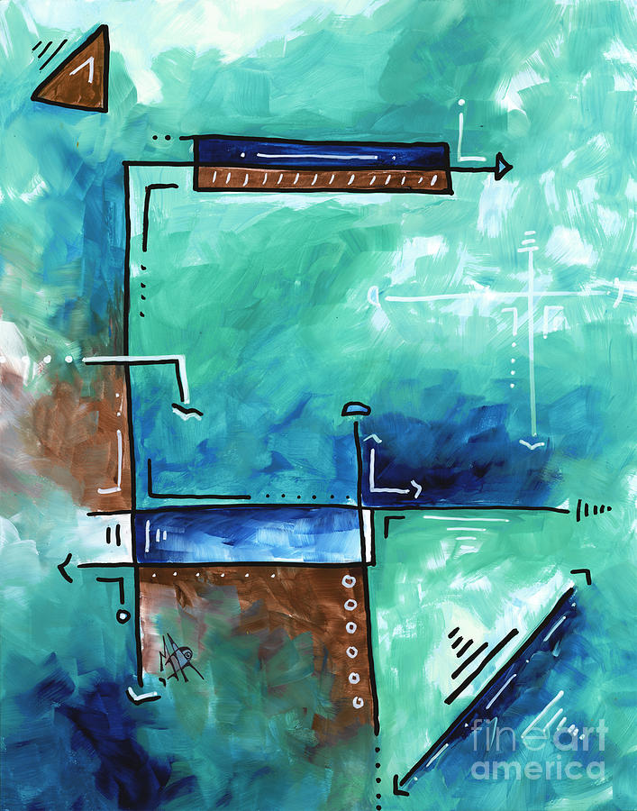 Colorful Abstract Pop Art Style Original Painting Sea Green Blues And Brown By Megan Duncanson