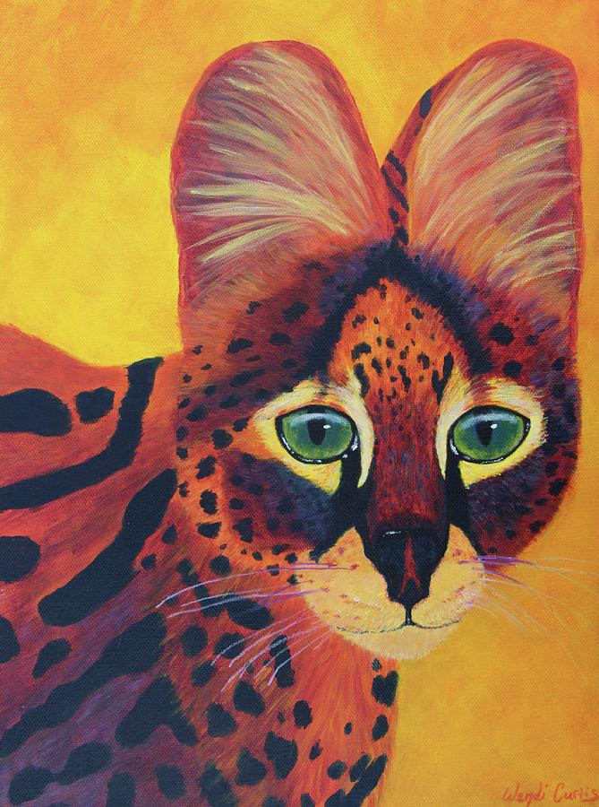 Colorful Serval Cat Painting