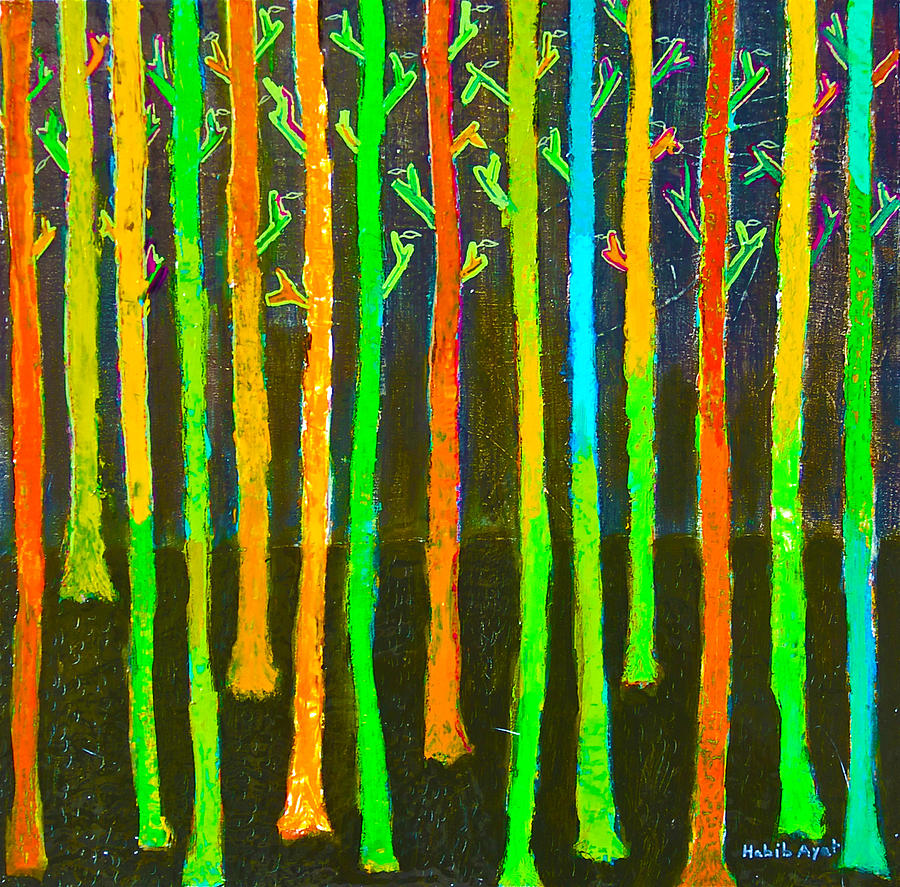 Colorful Trees Painting by Habib Ayat
