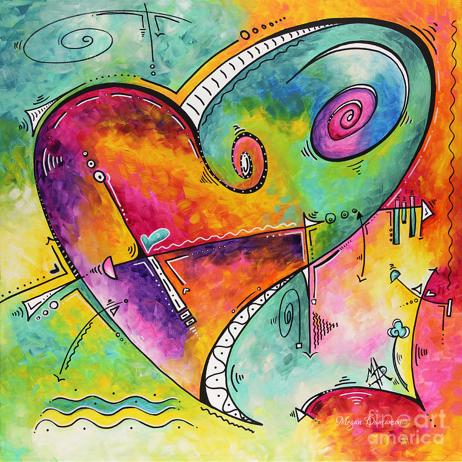 Colorful Whimsical Pop Art Style Heart Painting Unique Artwork By