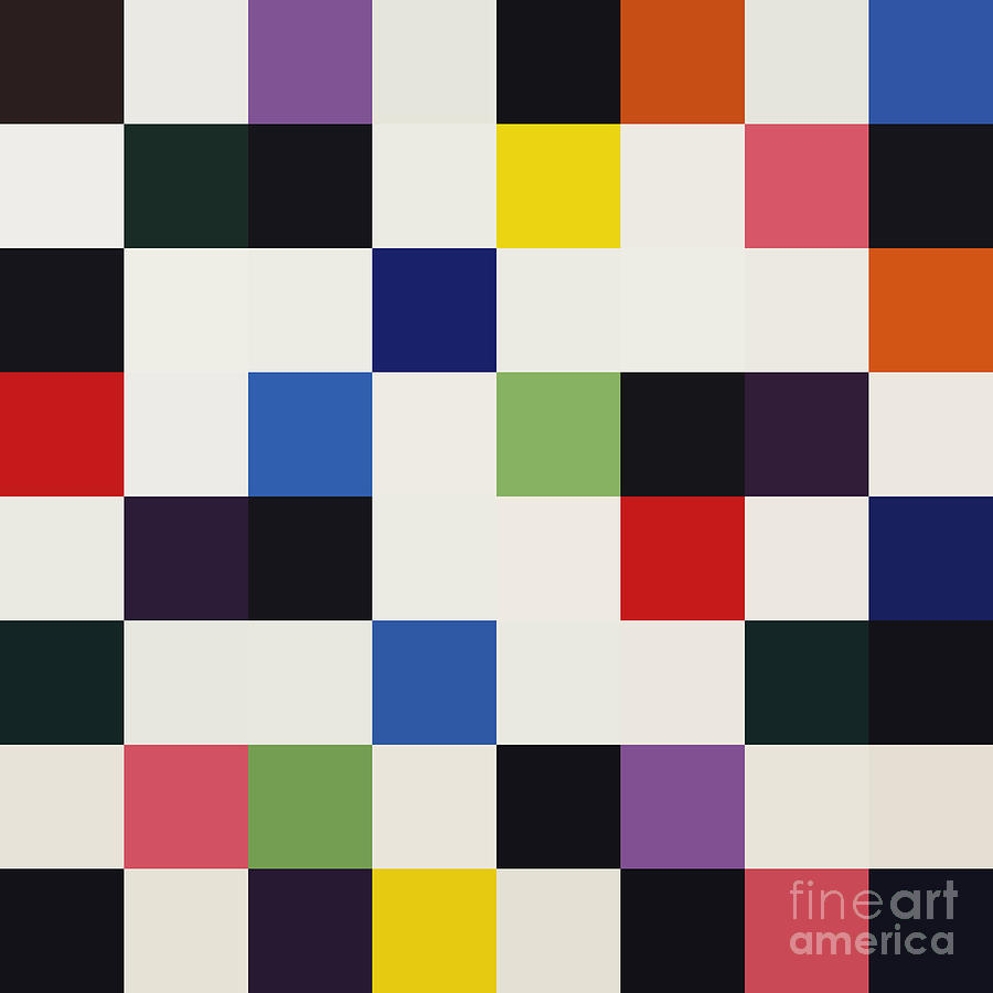 Ellsworth Kelly 8bit Abstract Colorful Primary Squares Digital Art - Colors For A Large Wall by Max Requenes