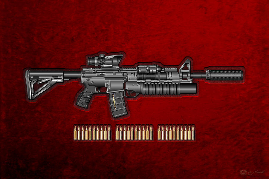 Military Photograph - Colt  M 4 A 1  S O P M O D Carbine With 5.56 N A T O Rounds On Red Velvet  by Serge Averbukh