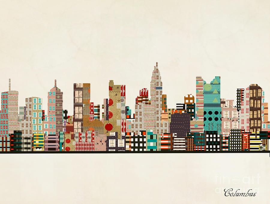 Columbus Ohio Painting - Columbus Ohio Skyline by Bri Buckley