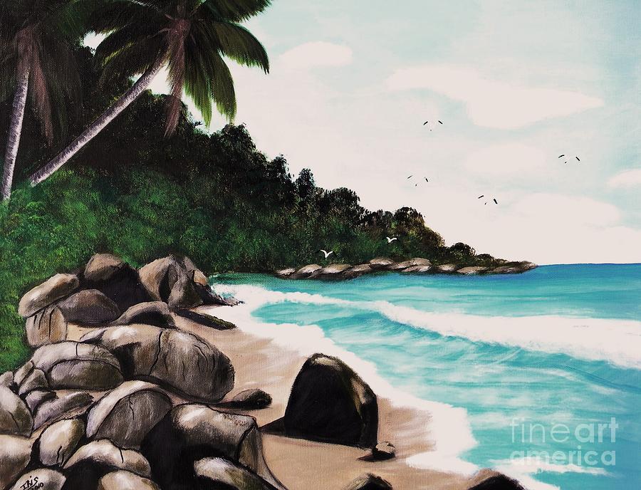 Combate Beach Painting by Iris  Mora
