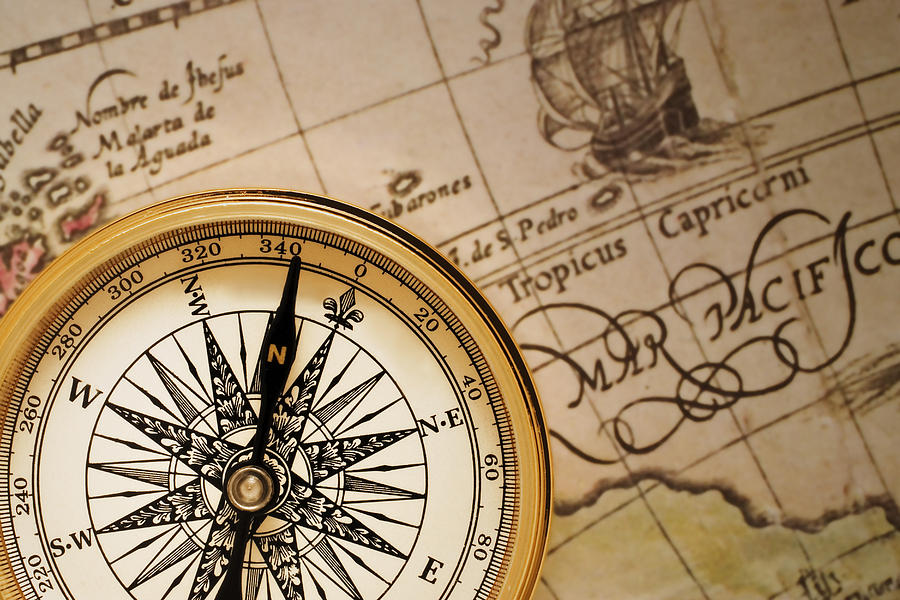 Compass And Antique Map Photograph By Utah Images - Antiques us maps with compass