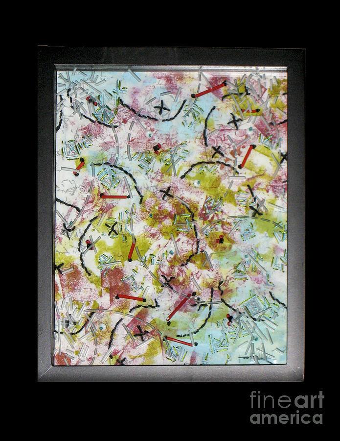 Red Glass Art - Confetti by Alone Larsen