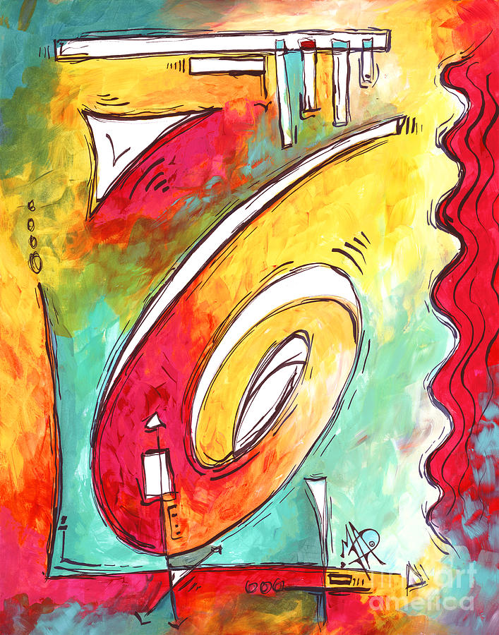 Abstract Painting - Contemporary Abstract PoP Art Style Original Painting Enjoy Life by Megan Duncanson by Megan Duncanson