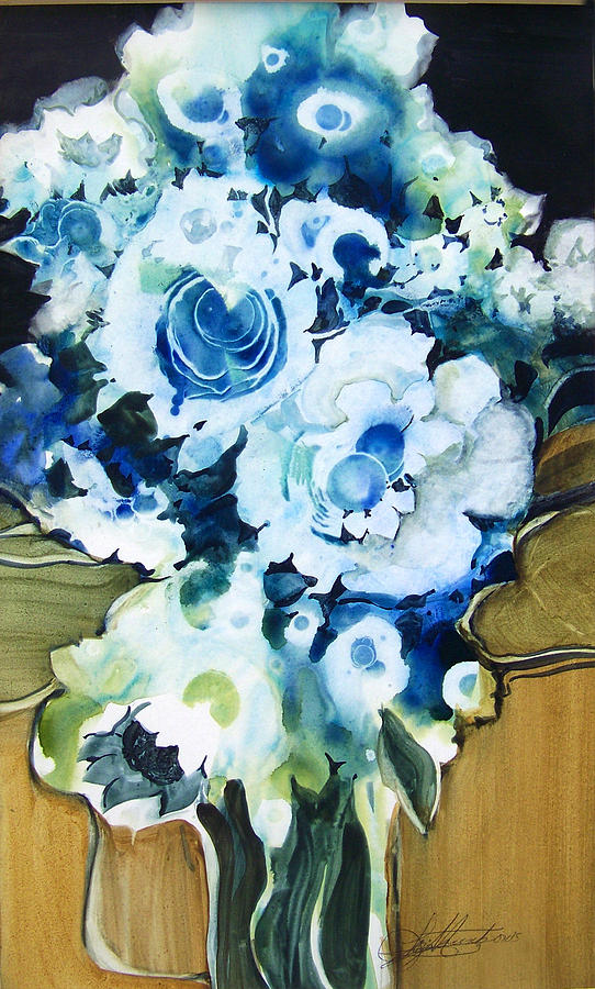 Contemporary Floral In Blue And White Painting by Lois Mountz