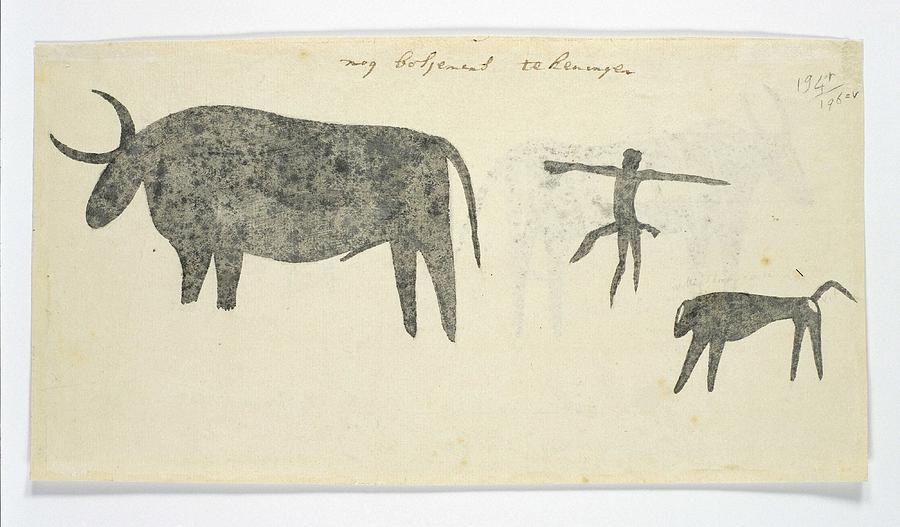 Animal Painting - Copies After San Rock-paintings Of An Ox, A Baboon, And A Man, Robert Jacob Gordon, 1777 by Robert Jacob Gordon