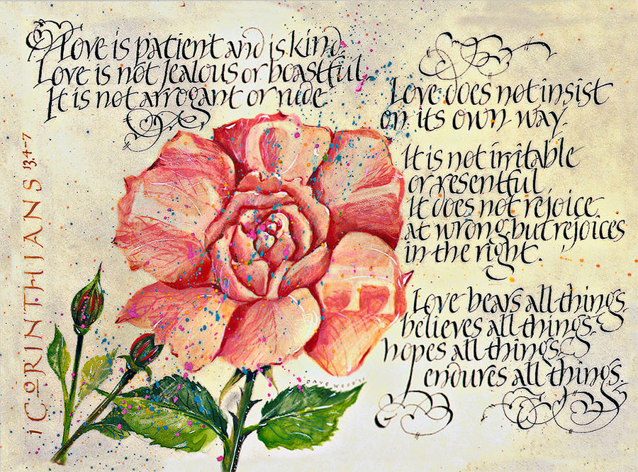 Canvas Print Drawing - 1 Corinthians 13 by Dave Wood