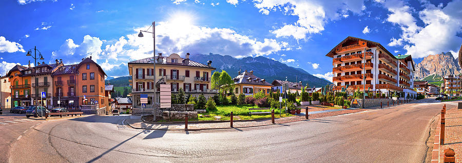Alps Photograph - Cortina D Ampezzo Street And Alps Peaks Panoramic View by Brch Photography