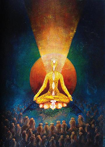 Oil Painting Painting - Cosmic Teacher by Sanjay Kumar