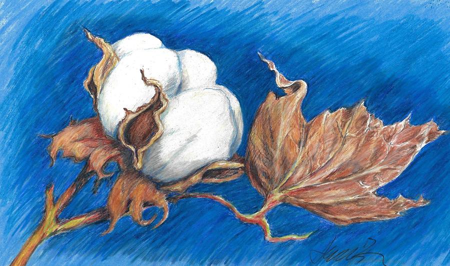 Cotton Painting - Cotton Picking Blues by Jacki Kellum