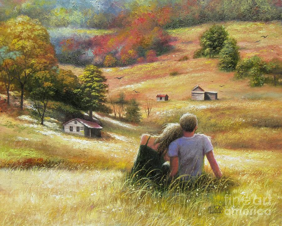 Country Lovers In Autumn Painting By Vickie Wade