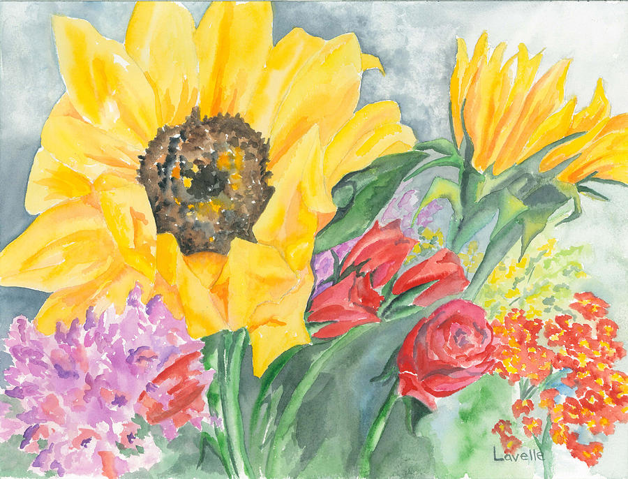 Flowers Painting - Courtneys Sunflower by Kimberly Lavelle
