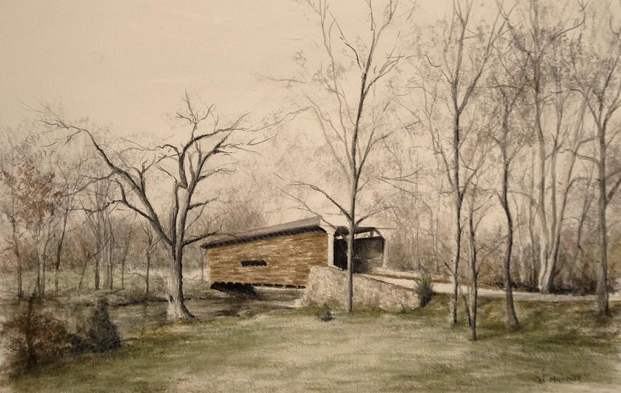 Bridge Painting - Covered Bridge In Winter by David Bruce Michener