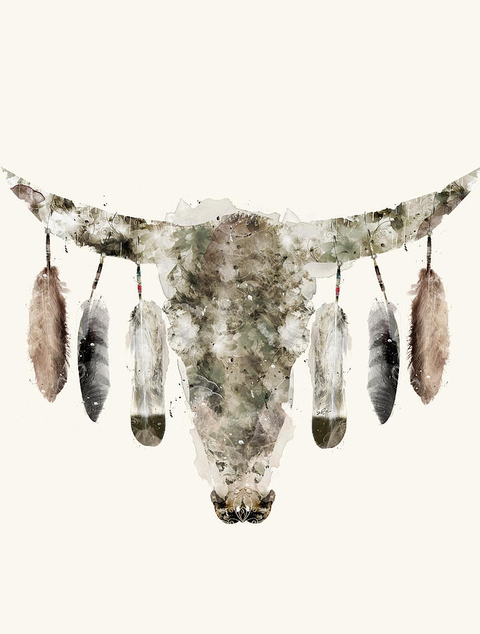 Cow Skull Painting - Cow Skull by Bri Buckley