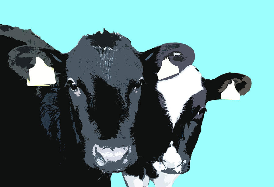 Cows - Blue by Mary Castellan