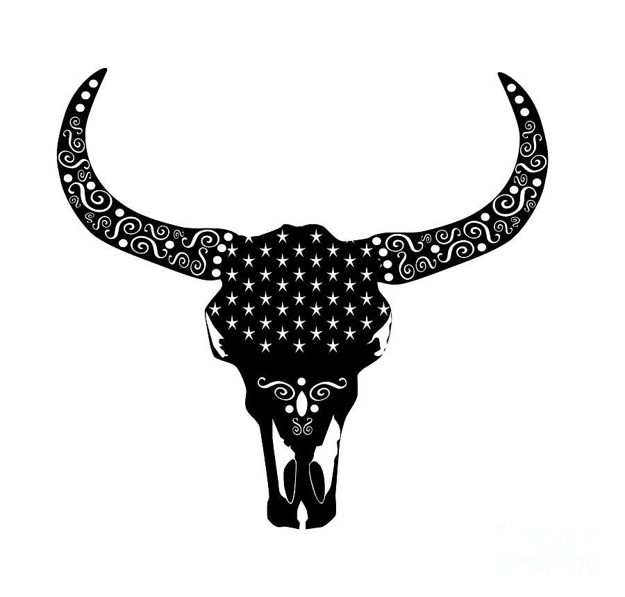 cows head animal skull bull vector illustration with ornament