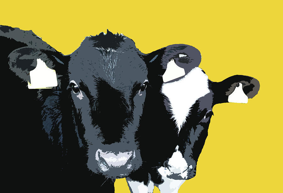 Cows - Yellow by Mary Castellan