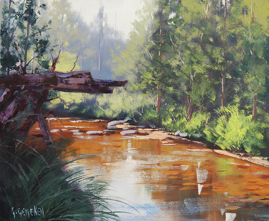 River Painting - Coxs River Bank by Graham Gercken