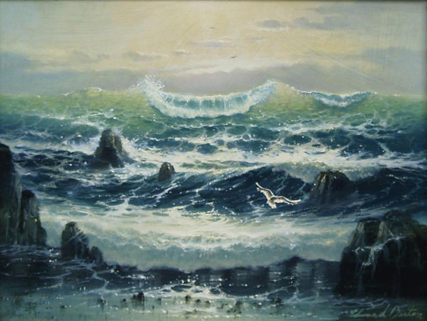 Seascape Painting - Crashing Surf by Edward Barton