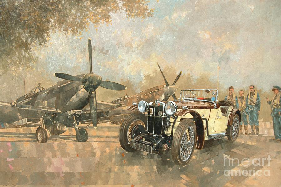 Airplane Painting - Cream Cracker MG 4 Spitfires  by Peter Miller