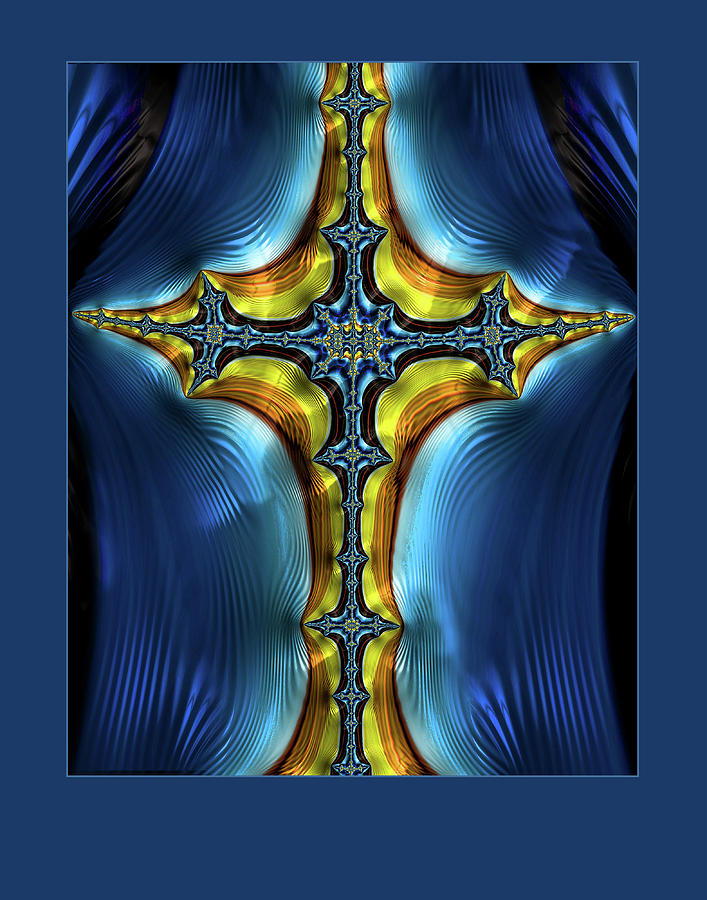 Cross on Blue by Constance Sanders