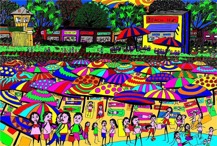 Beach Digital Art - Crowded Beach by Karen Elzinga