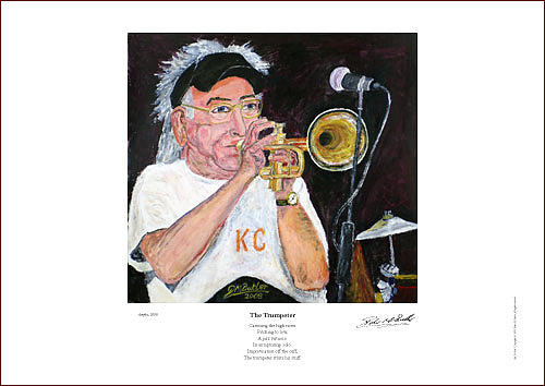 Portraits Painting - Cuff Billett On Trumpet - Giclee Print by Peter Mark Butler